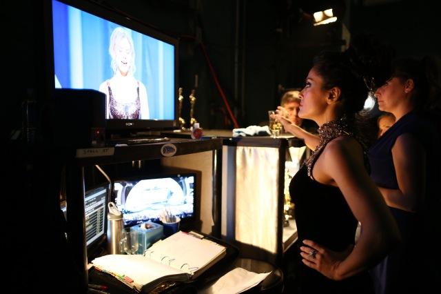 Salma Hayek behind the scenes